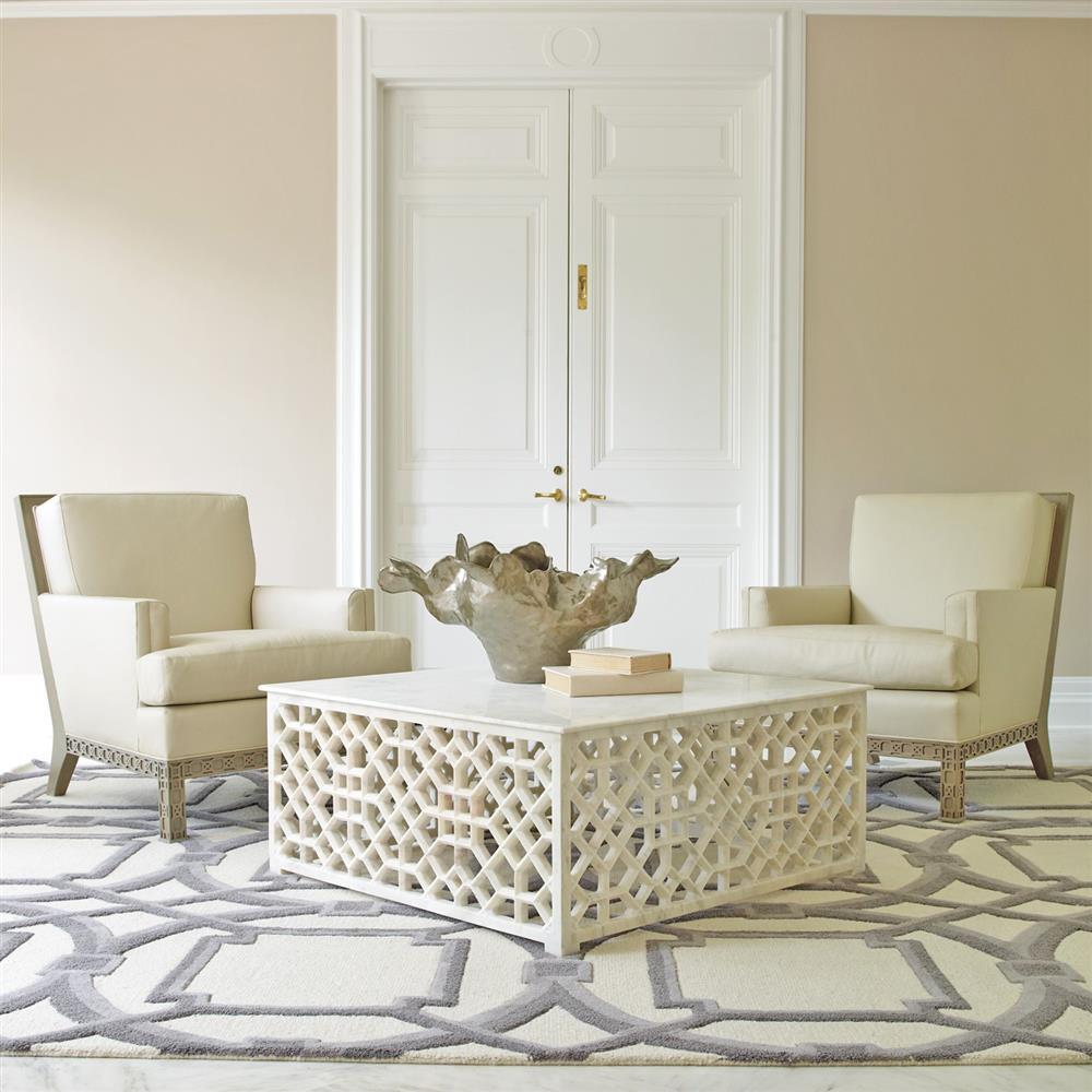 Octavia Hollywood Regency Ivory Leather Scroll Pattern Armchair