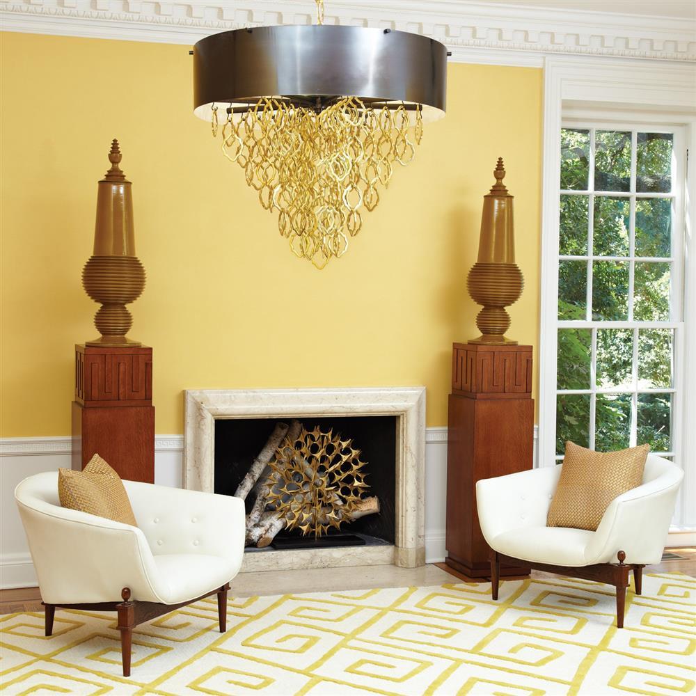 Alia Mid Century Art Deco White Grain Leather Button Round ...