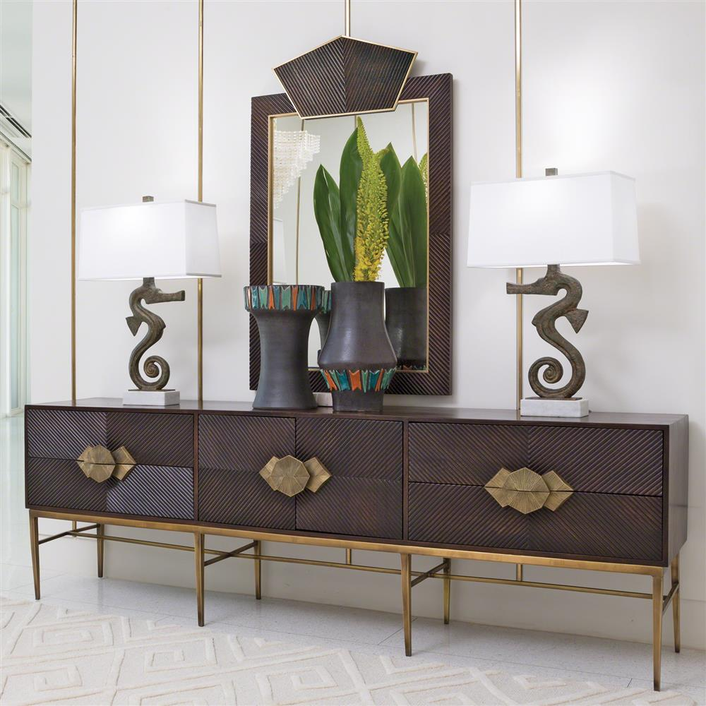Darwin Global Bazaar Dark Wood Brass Storage Media Cabinet