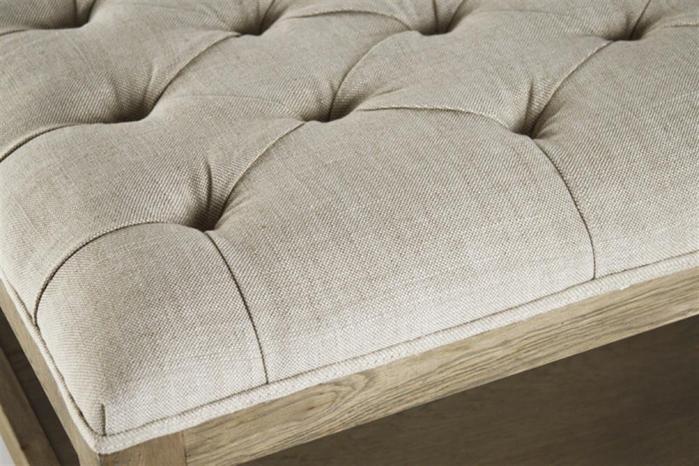 Incroyable Square Tufted Linen Natural Oak Coffee Table Ottoman | Kathy Kuo Home. View  Full Size ...