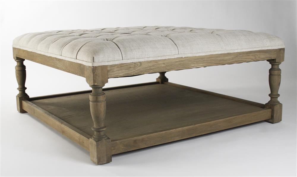 Square tufted linen natural oak coffee table ottoman kathy kuo home Linen ottoman coffee table