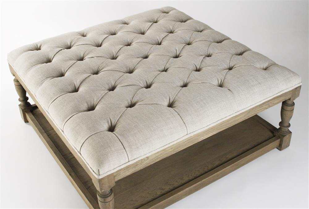 Square tufted linen natural elm coffee table ottoman kathy kuo home Linen ottoman coffee table