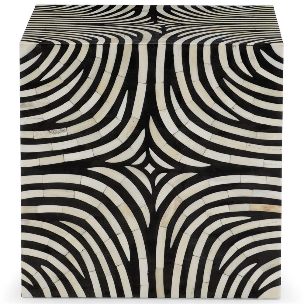 Rumi global bazaar zebra print bone inlay end table for Css table zebra design