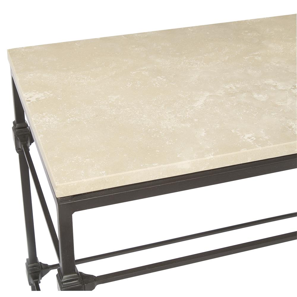 Tory modern classic honed travertine aged iron console table view full size geotapseo Gallery
