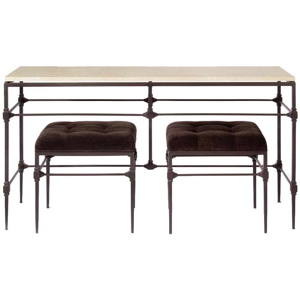 Superb Tory Modern Classic Honed Travertine Aged Iron Console Table | Kathy Kuo  Home