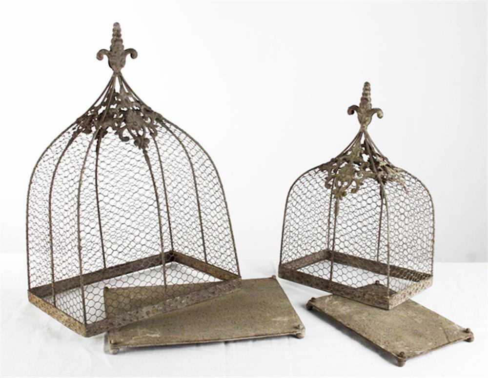 Rustic Wire Decorative Bird Cages - Set of 2  Kathy Kuo Home