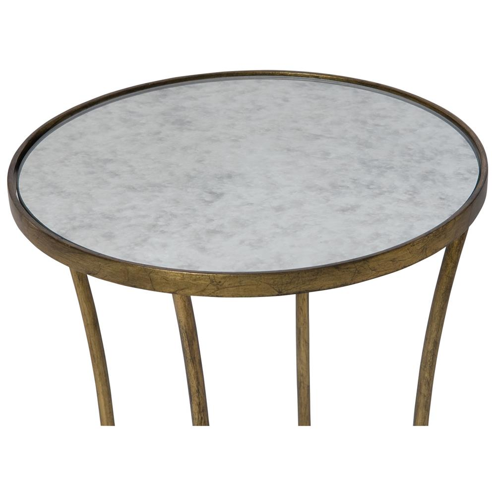 Clarissa hollywood regency antique mirror gold leaf side table view full size geotapseo Choice Image