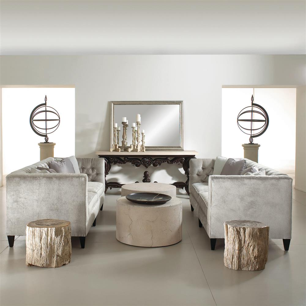 Osmond Industrial Round Limestone Concrete Coffee Table | Kathy Kuo Home.  View Full Size ...
