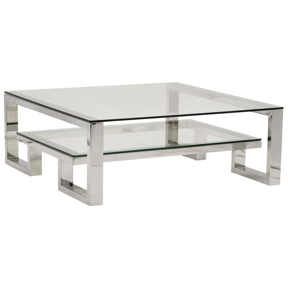Yves Hollywood Regency Polished Stainless Steel Coffee Table Kathy Kuo Home