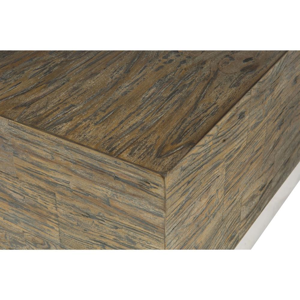 Grey Teak Coffee Table: Lucius Industrial Loft Grey Teak Wood Polished Steel