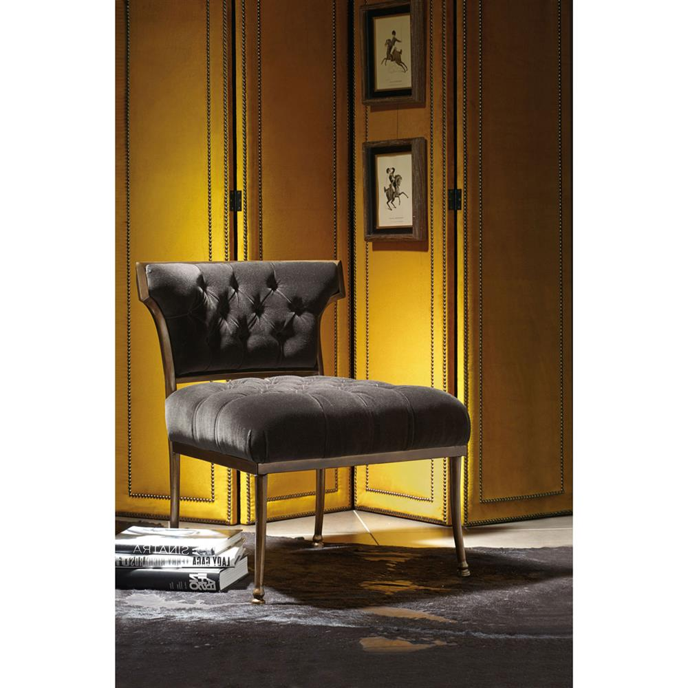 Aviana Hollywood Regency Grey Velvet Metal Living Room Chair | Kathy Kuo  Home