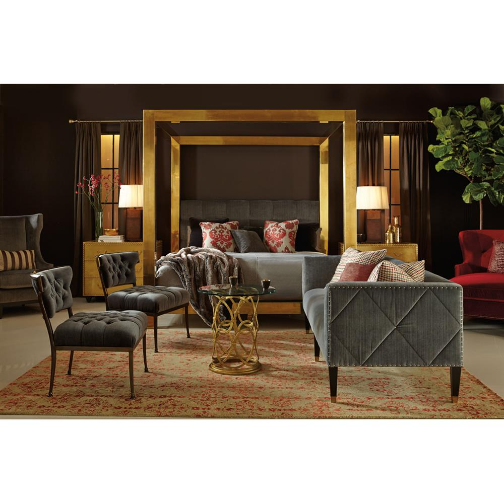 Aviana Hollywood Regency Grey Velvet Metal Living Room Chair