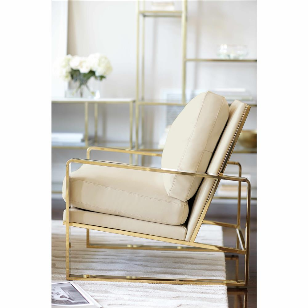Delicieux Brea Hollywood Regency Cream Leather Gold Metal Armchair | Kathy Kuo Home