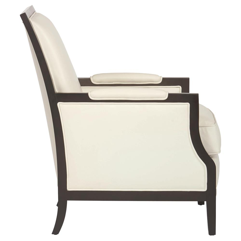Kida Modern Classic Mocha Wood Cream Leather Armchair ...