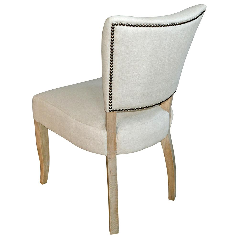 loire french country light beige linen oak nailhead dining