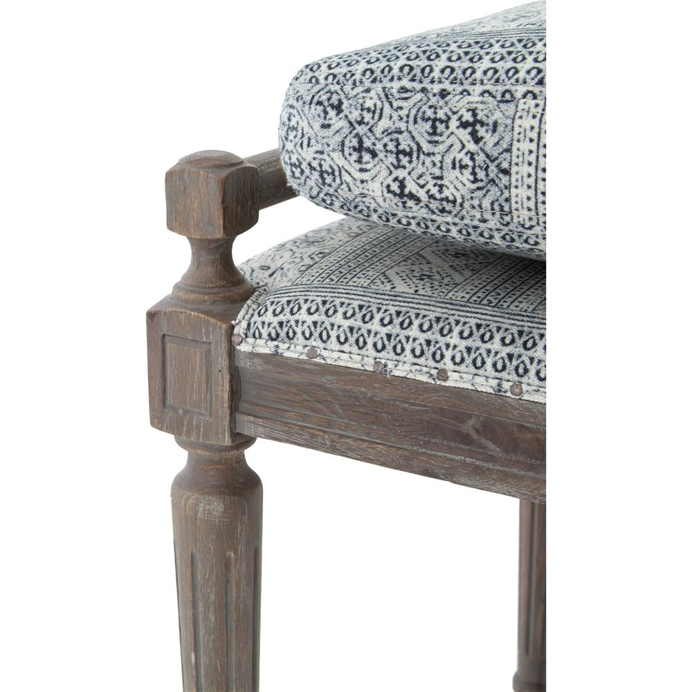 ... Rene French Country Blue Grey Batik Oak 67 Inch Dining Bench | Kathy  Kuo Home ...