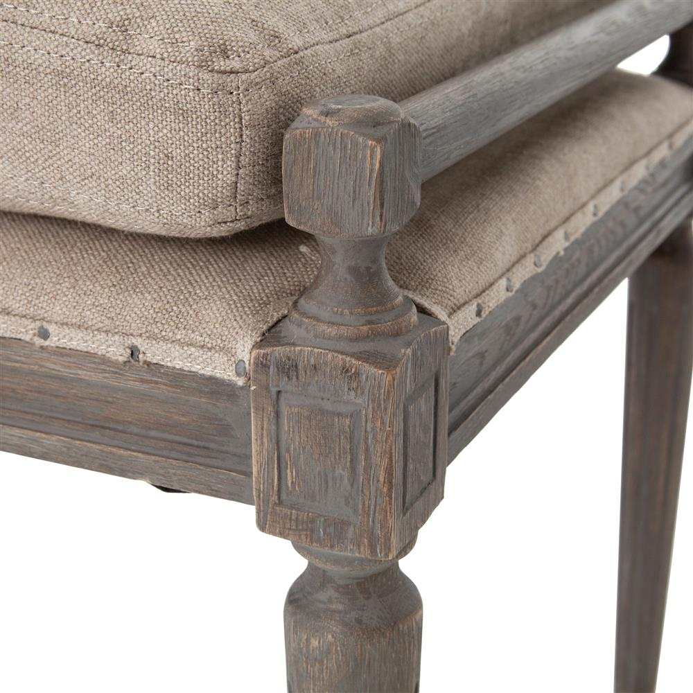 Rene French Country Oatmeal Linen Oak 79 Inch Dining Bench | Kathy Kuo Home