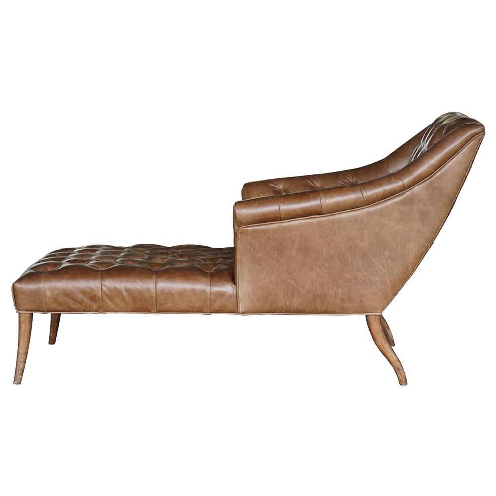 Roald rustic lodge brown leather tufted armchair chaise for Chaise leather lounges