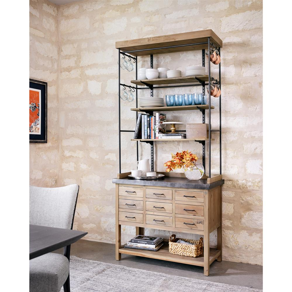 ... Callie French Country Pine Iron Zinc Display Case Buffet Cabinet |  Kathy Kuo Home