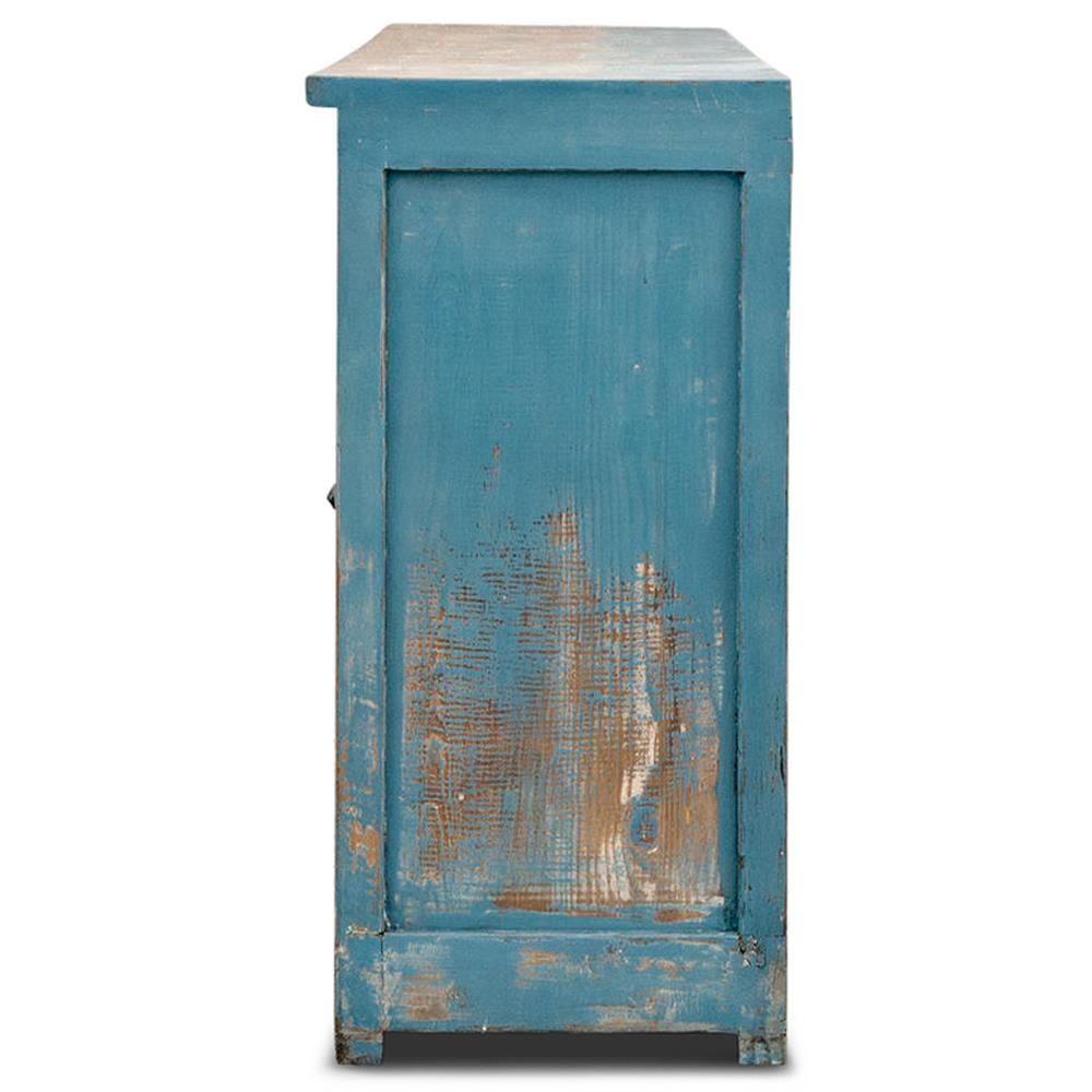 Faros Coastal Beach Weathered Blue Beige Wood 8 Door Sideboard ...