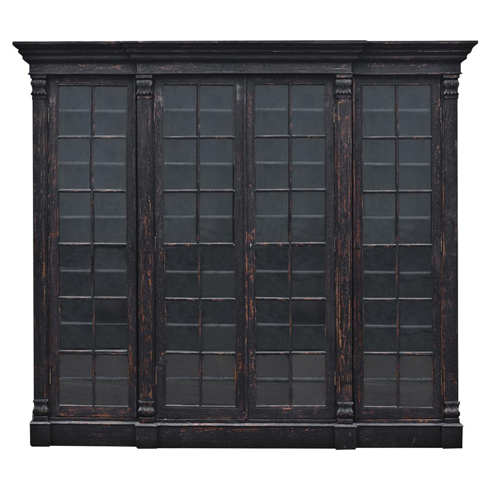 French Glass Kitchen Cabinet Doors: Clemens French Country Espresso Brown Walnut Glass 4 Door