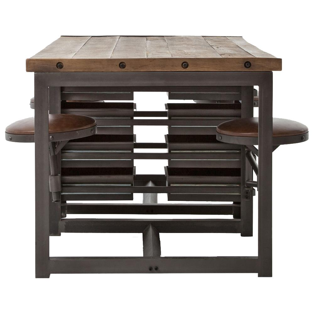 Wilkes Industrial Loft Reclaimed Pine Iron  Swivel Stools Desk - Reclaimed pine dining table