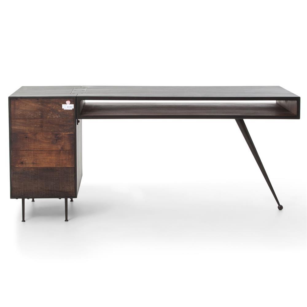 Forman Retro Modern Industrial Loft Metal Wood 3 Drawer Desk