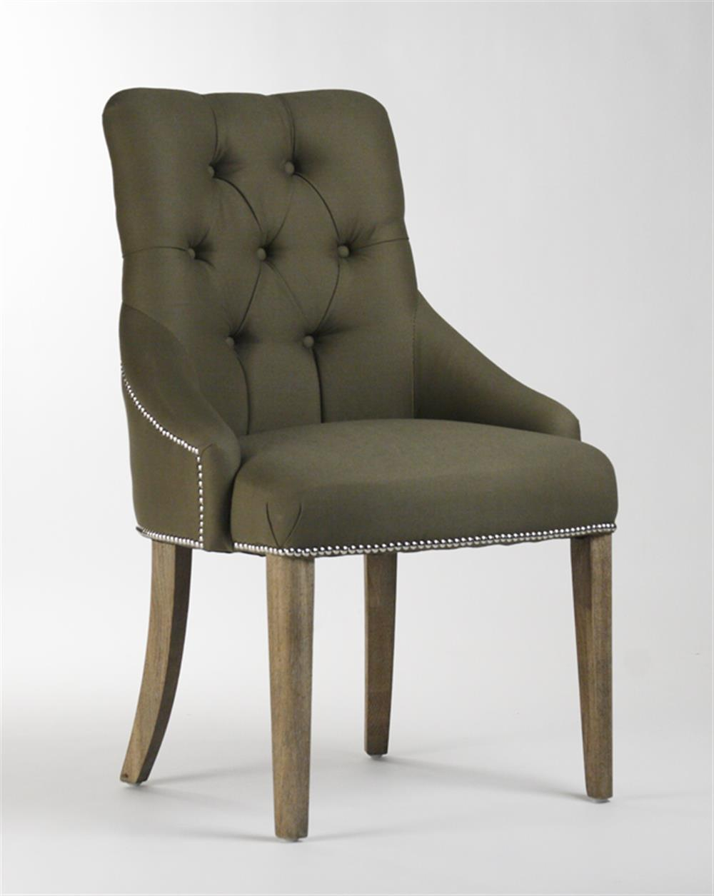 room chairs anneau olive linen tufted nailhead vanity dining chair