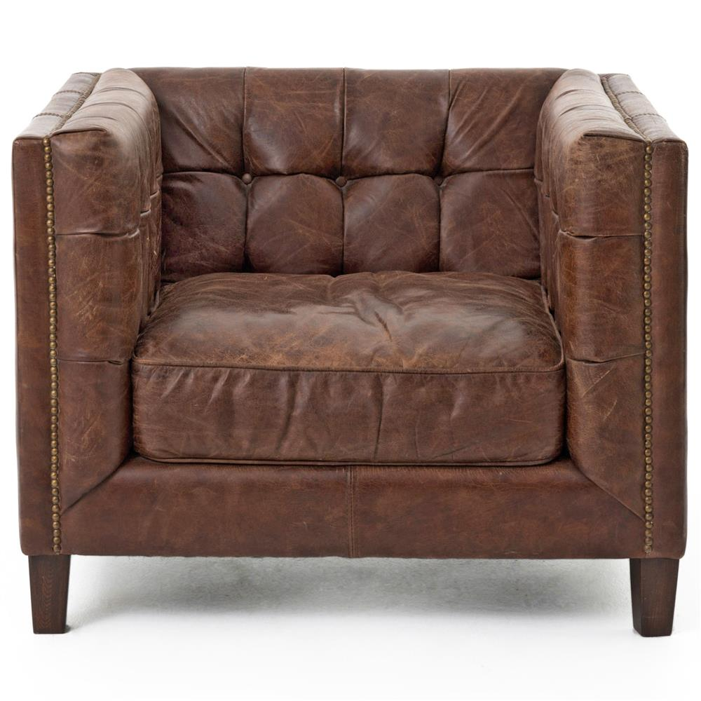 Christopher Rustic Lodge Tufted Straight Back Brown Leather - Rustic lodge furniture