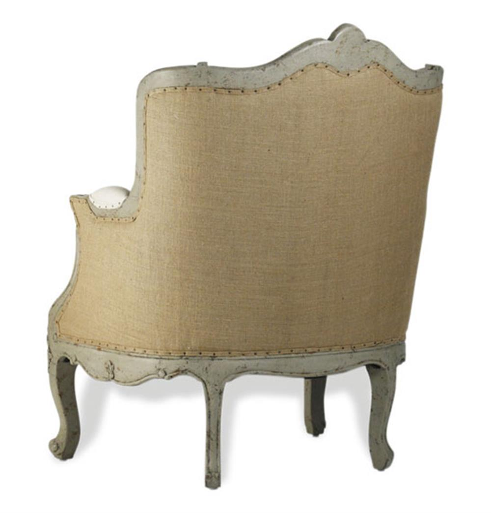 Adele French Country Rustic Off White Cotton Arm Accent