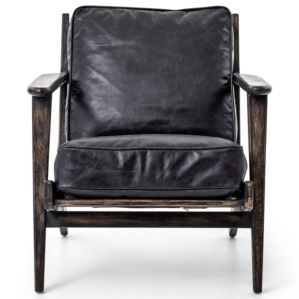Rider mid century modern oak black leather armchair for Mid century modern armchairs
