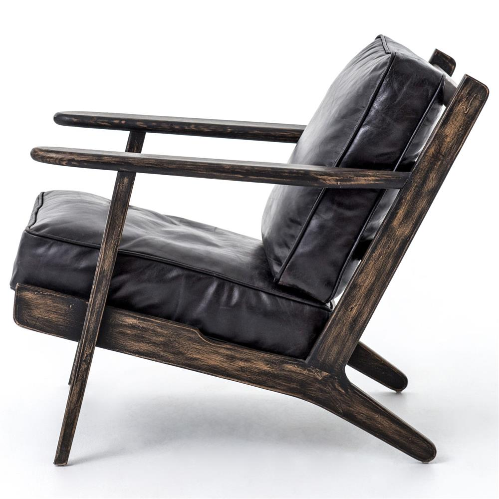 Rider mid century modern oak black leather armchair for Contemporary armchair