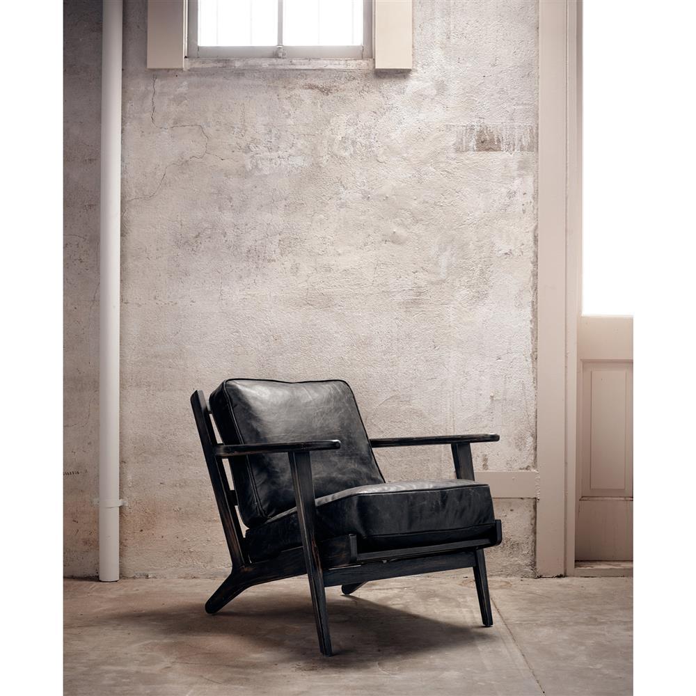rider mid century modern oak black leather armchair kathy kuo home