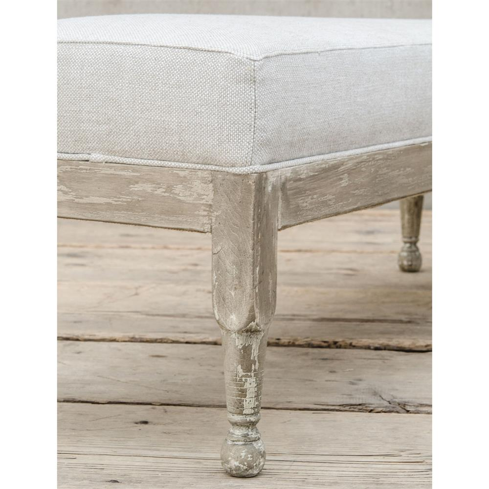 Normandy Coastal Solid Carved Wood White Wash Grey Bench