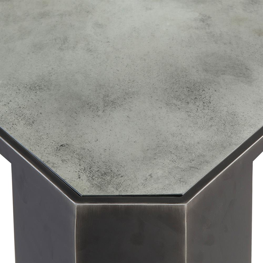 Brushed Aluminum Coffee Table: Monte Industrial Loft Antique Glass Brushed Metal Coffee Table