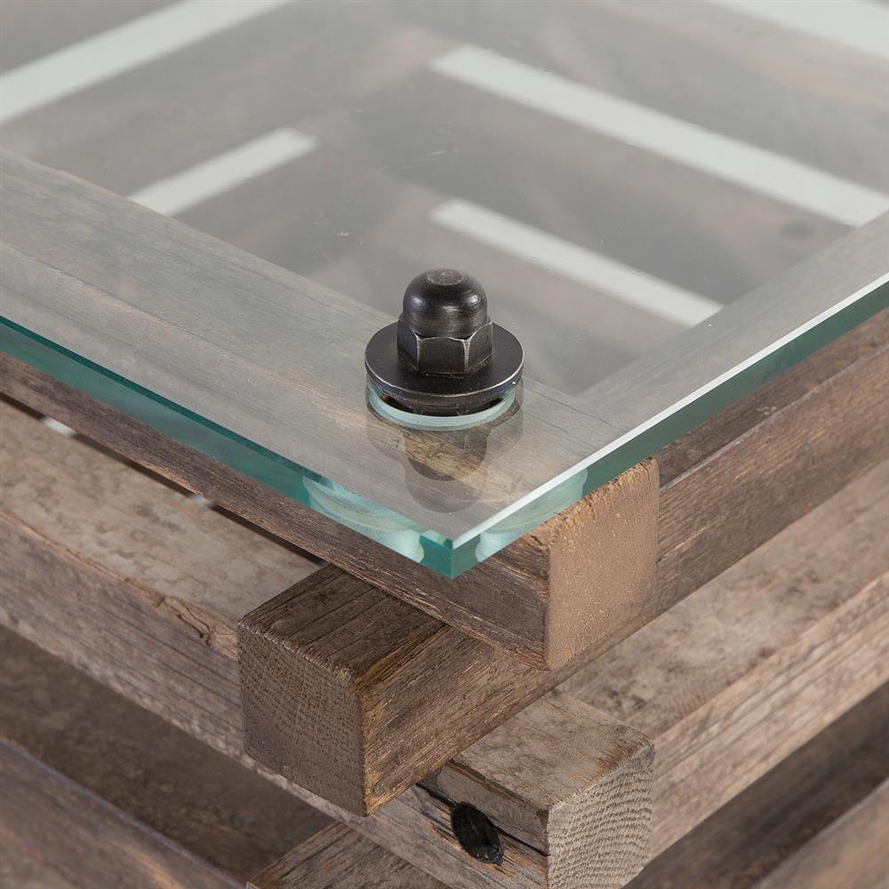Laura Rustic Lodge Glass Top Log Coffee Table