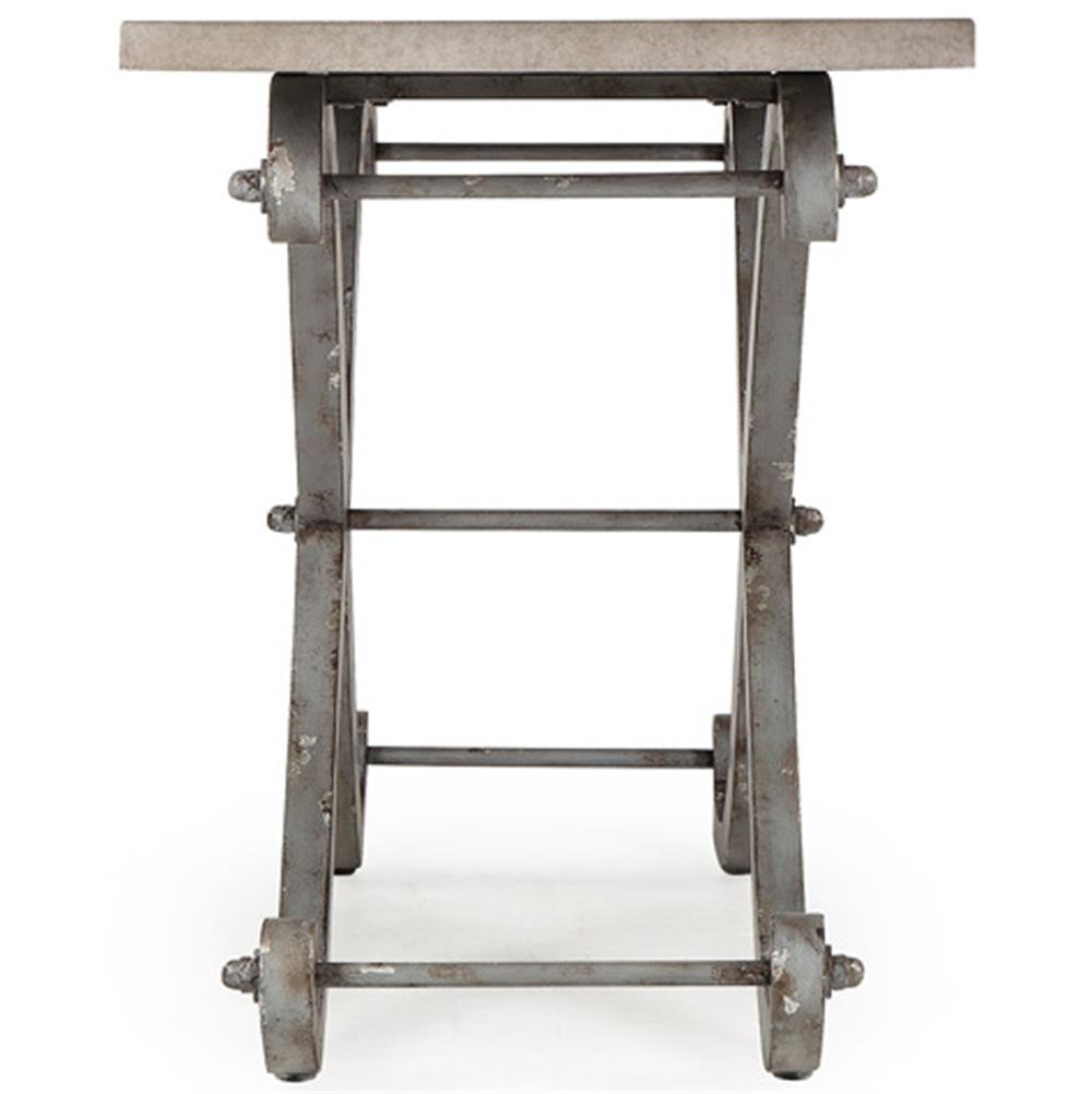 Eliza Industrial Loft Curved Cross Leg Metal Console Table | Kathy Kuo Home