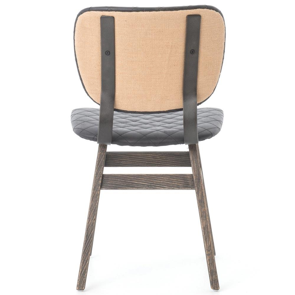 Industrial leather dining chair - Drifter Industrial Loft Black Leather Quilt Charcoal Dining Chair Pair Kathy Kuo Home