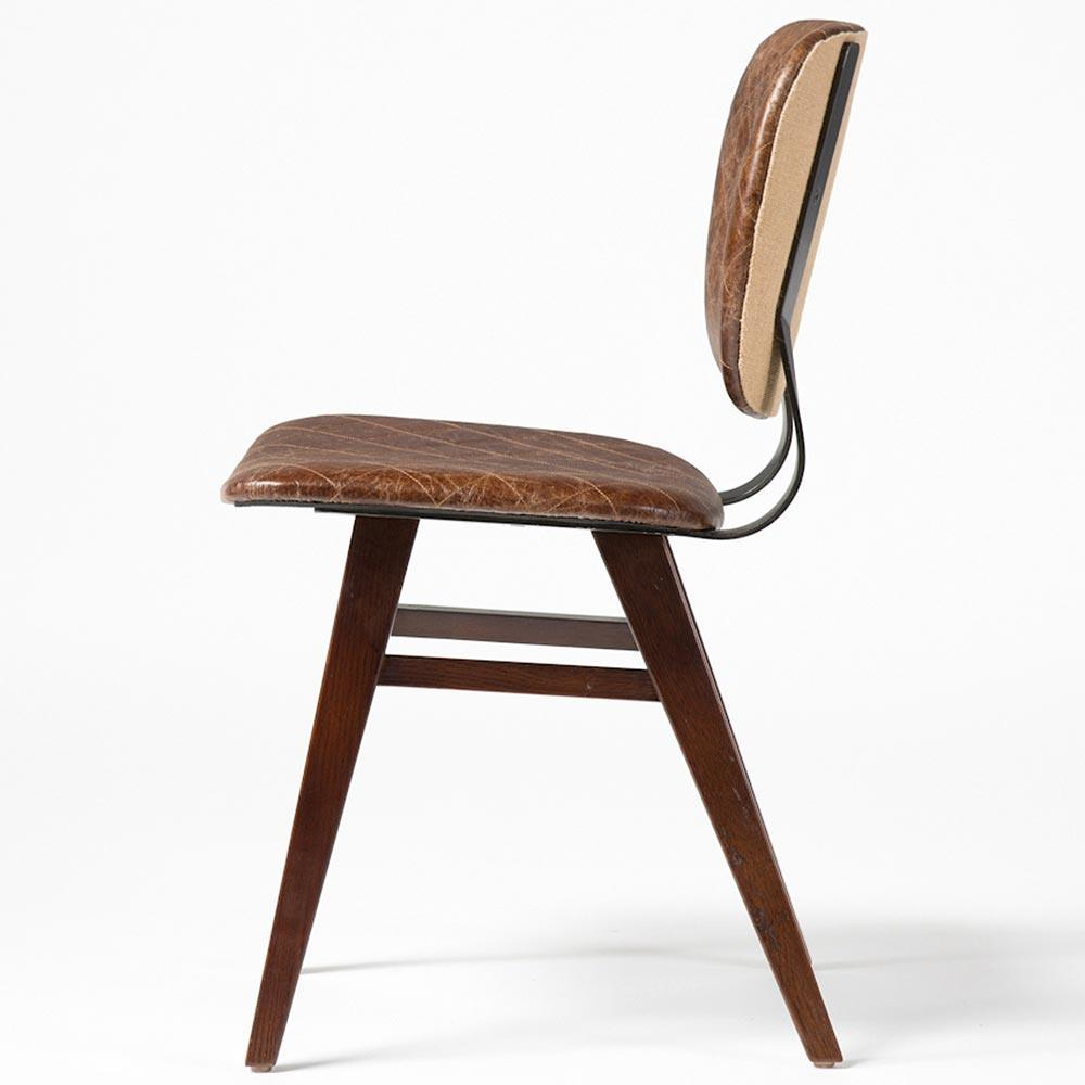 Industrial leather dining chair - Drifter Industrial Loft Brown Leather Quilt Oak Dining Chair Pair Kathy Kuo Home