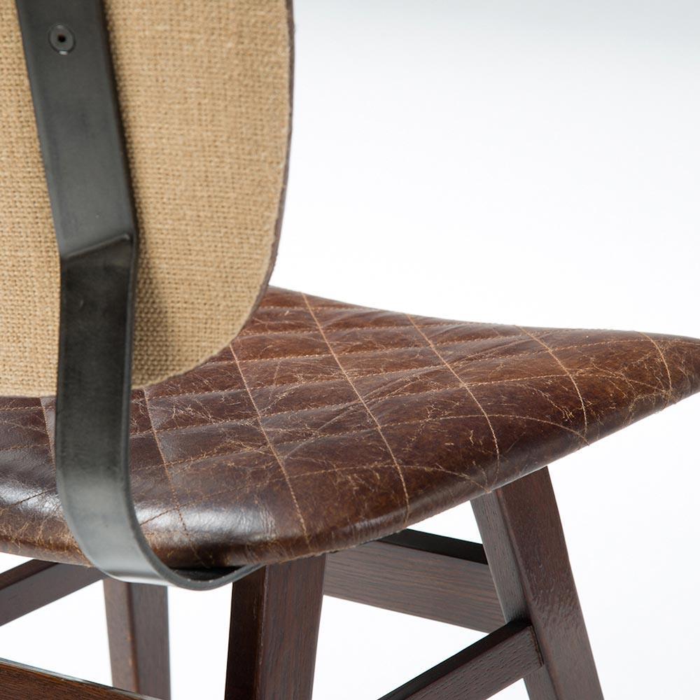 Drifter Industrial Loft Brown Leather Quilt Oak Dining