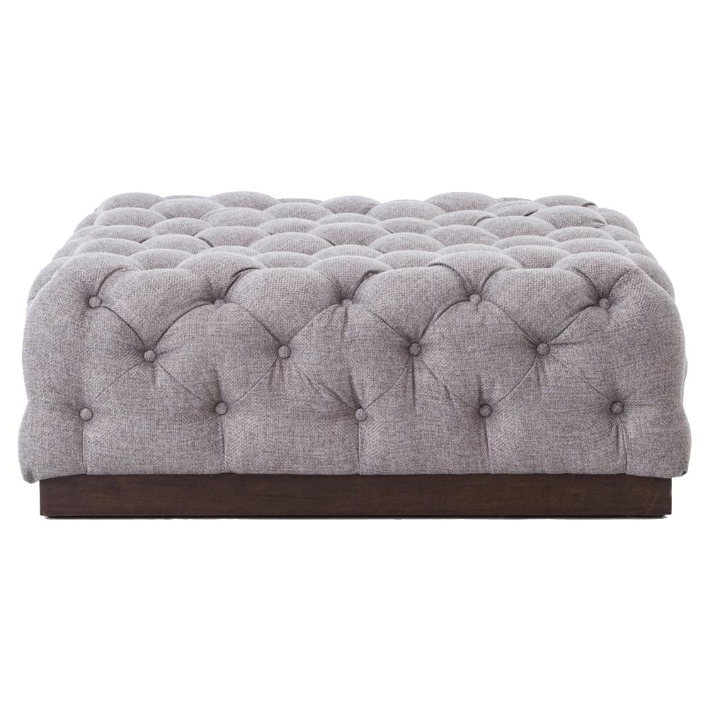 Contemporary Wooden Ottoman ~ Torry modern classic tufted pewter grey fabric wood ottoman