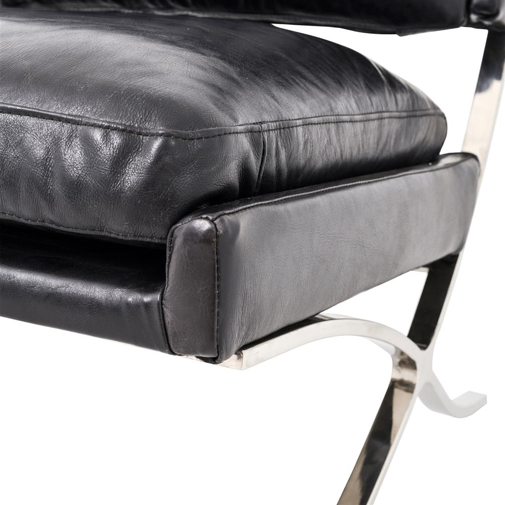 harvey mid century modern black leather upholstered x leg lounge chair. Black Bedroom Furniture Sets. Home Design Ideas