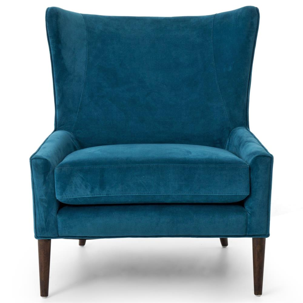 Paola Mid Century Peacock Blue Velvet Wing Lounge Chair