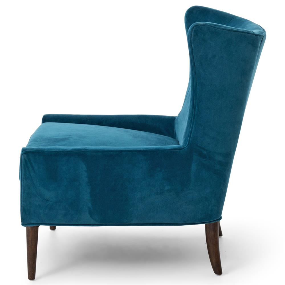 Paola Modern Classic Peacock Blue Velvet Wing Lounge Chair | Kathy Kuo Home