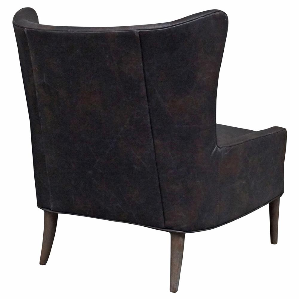 Paola Modern Classic Espresso Brown Leather Wing Lounge