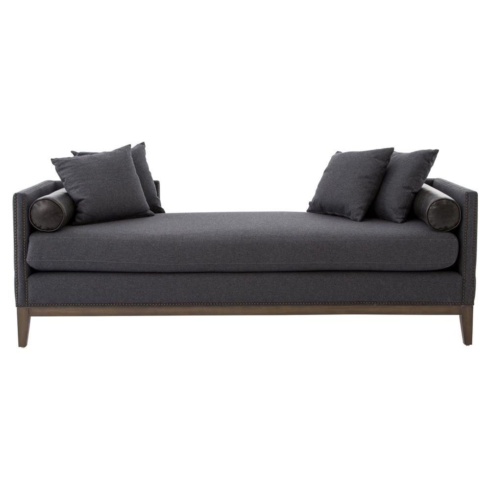 Candice Hollywood Regency Charcoal Grey Wool Daybed Sofa ...