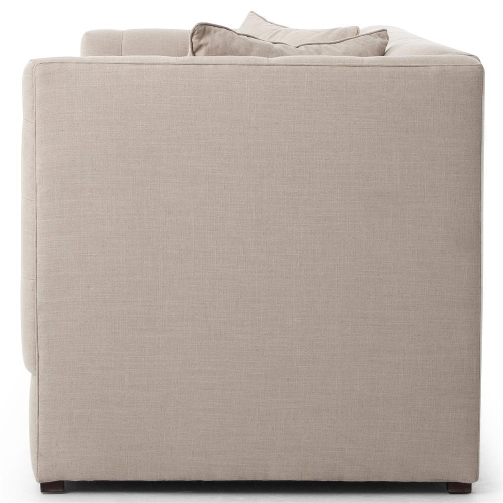 Carlin Hollywood Regency Tufted Ivory Beige Linen Sofa