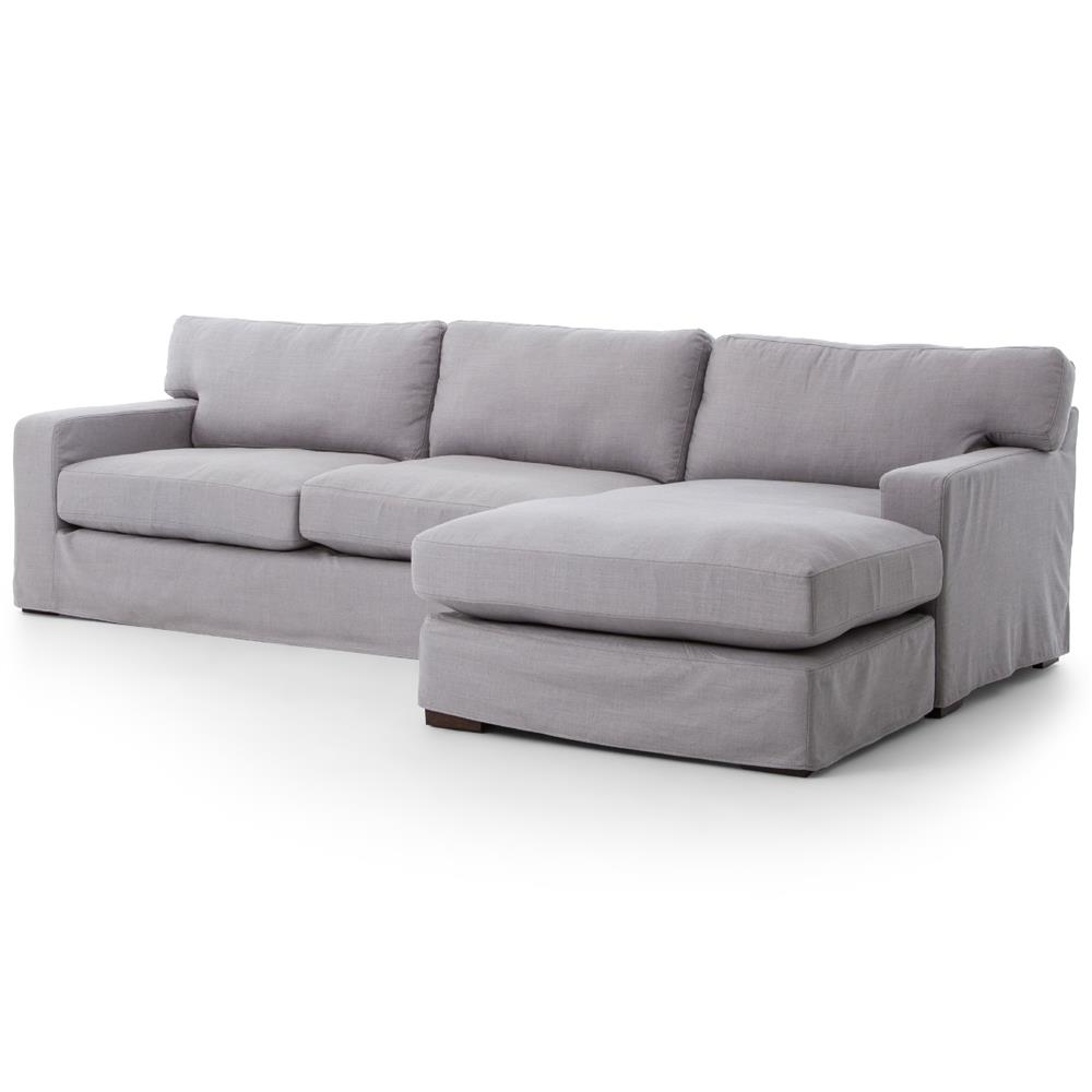 Modern Sectional Sofas Grey: Elle Modern Classic Pewter Grey Linen Sectional Sofa