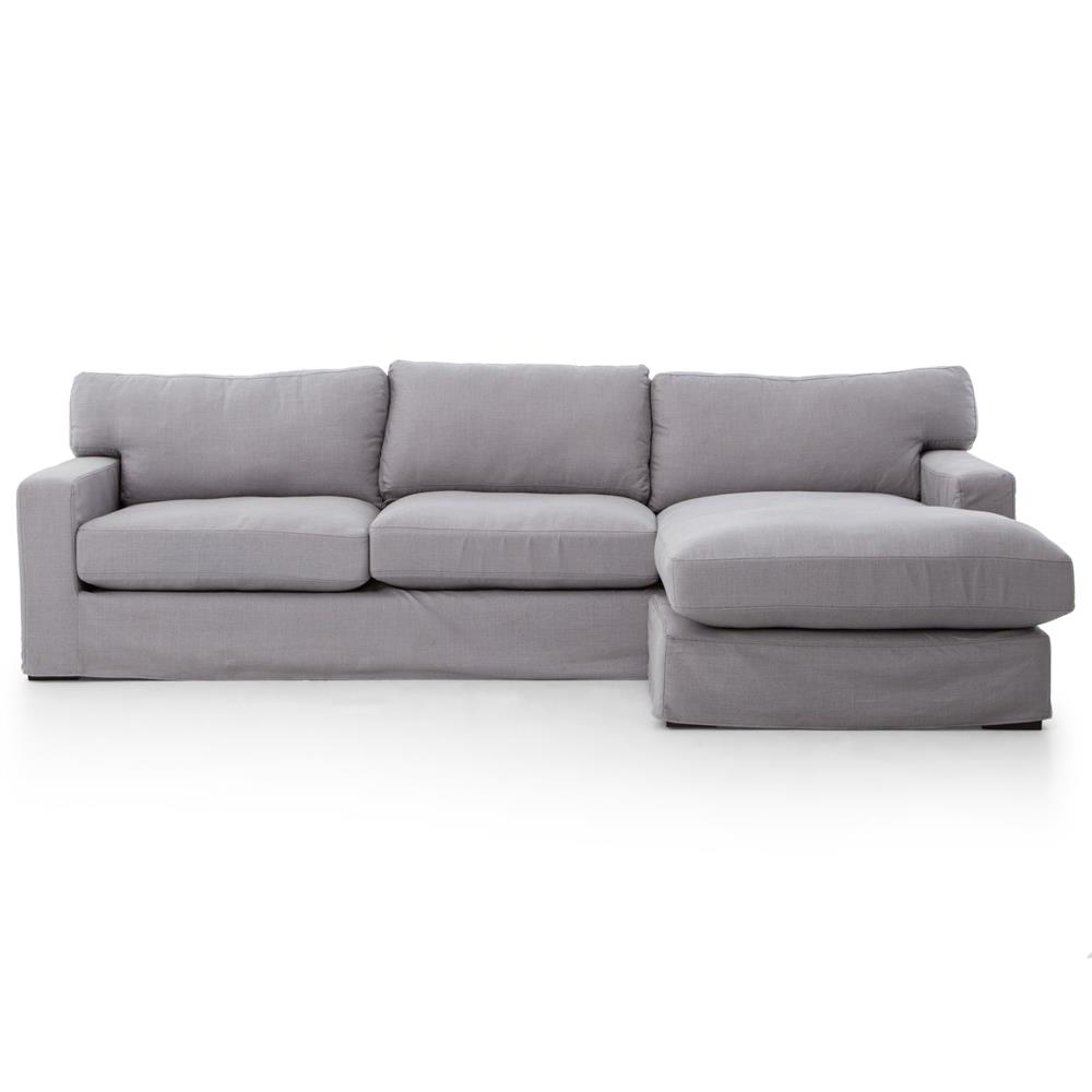Elle modern classic pewter grey linen sectional sofa for Sofa modern classic