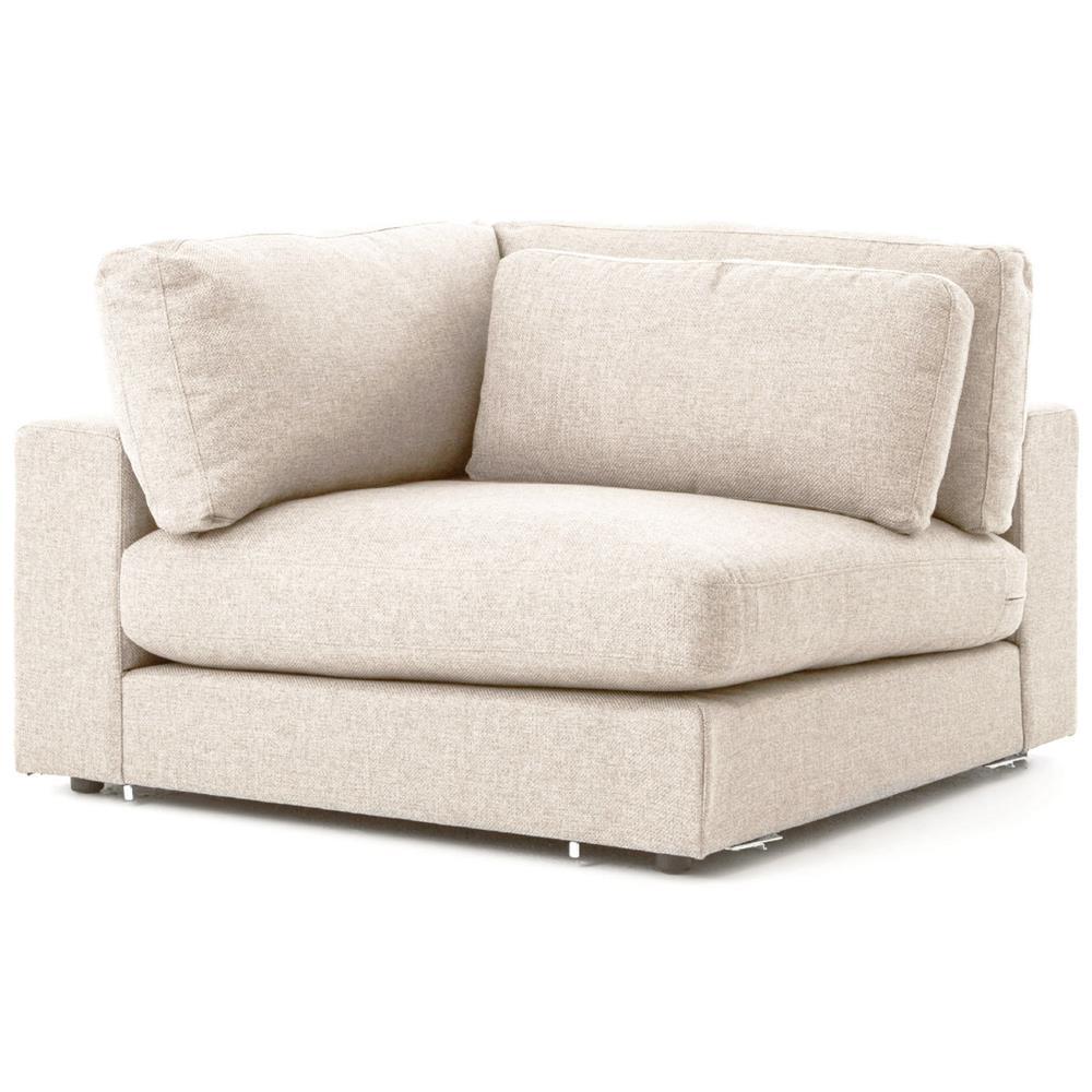 Cornerstone Modern Classic Beige Linen Sectional Sofa   131x131 | Kathy Kuo  Home